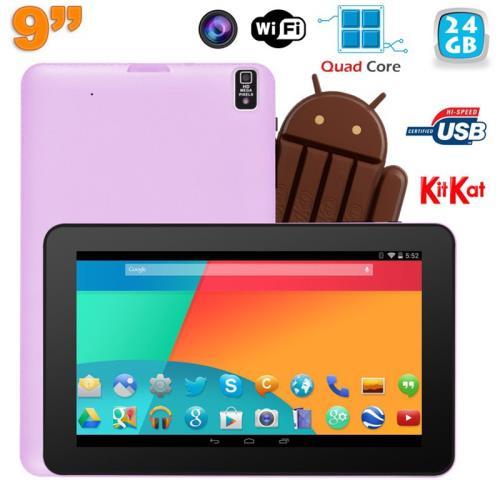 Cette tablette Android 4.4 est de taille parfaite (diagonale de 9 pouces) pour une prise en main intuitive et ainsi lire ou écrire. Elle dispose d´un port pour cartes Micro SD (16 Go fournie). La tablette supporte une Micro SD de capacité maximale de 64 G