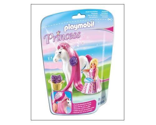 Quelle belle coiffure va choisir aujourd´hui la princesse ? À collectionner : Les chevaux de princesses PLAYMOBIL à brosser et coiffer ! Comprend une princesse, un cheval avec une longue crinière, une vraie brosse pour coiffer la crinière soyeuse et des p