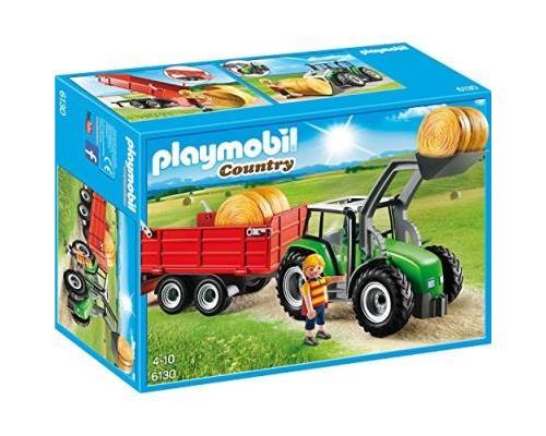 La moisson est terminée, c´est le moment d´engranger les balles de pailles avec le tracteur. Tracteur avec pelle, une remorque, un personnage et des balles de paille. Les bras et la pelle du tracteur sont mobiles. La benne bascule.
