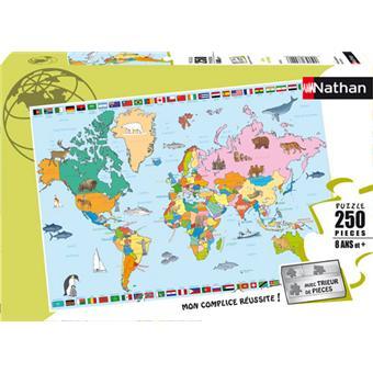 nathan puzzle carte du monde 250 pcs 100 300 pi ces achat prix fnac. Black Bedroom Furniture Sets. Home Design Ideas