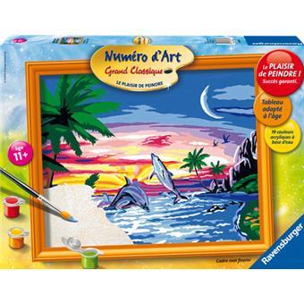ravensburger num ro d 39 art grand format dauphins au coucher de soleil peinture acheter sur. Black Bedroom Furniture Sets. Home Design Ideas