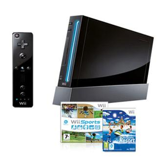 console wii noire nintendo wii sports et wii sports. Black Bedroom Furniture Sets. Home Design Ideas