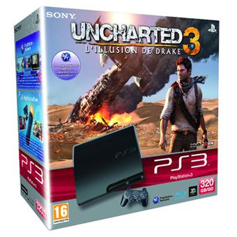 console ps3 slim 320 go sony uncharted 3 l 39 illusion de drake playstation 3 sony console. Black Bedroom Furniture Sets. Home Design Ideas