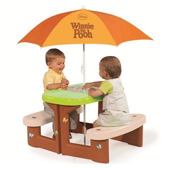 smoby winnie l 39 ourson table de pique nique avec parasol maisons de jardin achat prix fnac. Black Bedroom Furniture Sets. Home Design Ideas