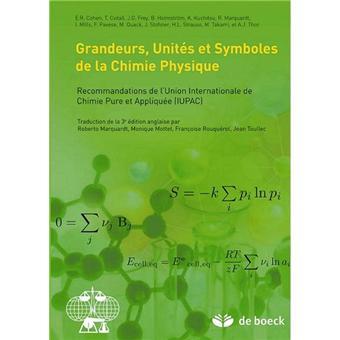 Grandeurs, unités et symboles utilisés en chimie physique