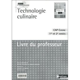 technologie culinaire cap cuisine livre du professeur