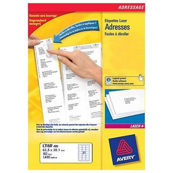avery etiquettes adresse l7160 40 papier pour imprimante achat prix fnac. Black Bedroom Furniture Sets. Home Design Ideas