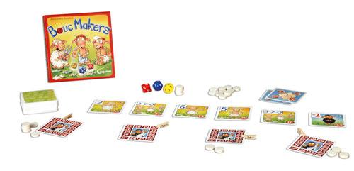 A l´aide de vos 3 dés originaux, atteignez le résultat de votre pari pour choisir les meilleures cartes Mouton. Choisissez secrètement votre objectif puis lancez les dés pour atteindre ou dépasser votre pari ; n´ayez pas les yeux plus gros que le ventre s