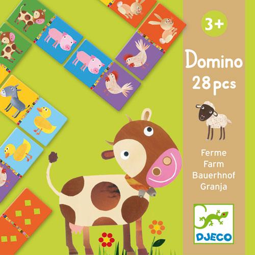 Le jeu classique de dominos : faces recto, des animaux et sur les versos, des constellations pour commencer à compter.