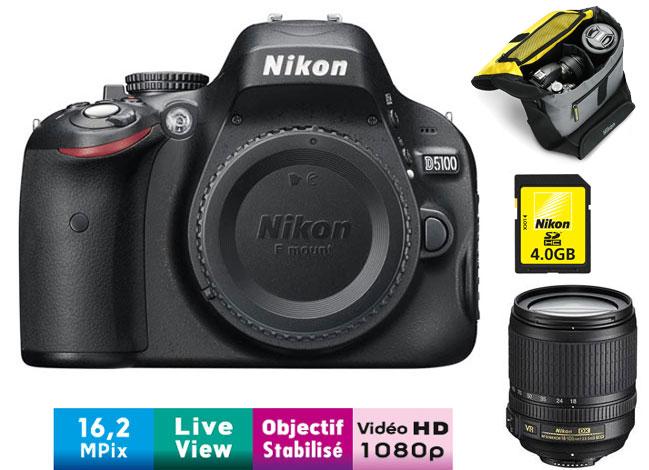 Pack Fnac Nikon D Obj AF S DX ED VR  mm f serie G Fourre Tout Carte SDHC Go a w