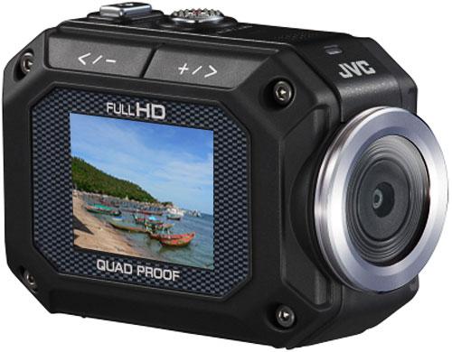 Mini Caméra de sport Full HD JVC GC XA 1. Capteur CMOS: 5 Mp; Gd angle 170° focale fixe 25,4 mm (Equiv. 24x36), Ouverture f/2.8; Zoom numérique 5x; Enregistrement vidéo : Full HD 1080p au Format MPEG4 AVC/H.264; Ecran LCD 1,5´´- 3,8 cm rotatif; Fonction A
