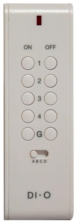 Compatible avec les prises et modules DI-O - Permet d´allumer/éteindre les lampes et appareils électriques à distance - Jusqu´à 16 canaux, fonction groupe - Fonction On/Off et variateur - Mode apprentissage automatique - Portée : 50 mètres en champ libre