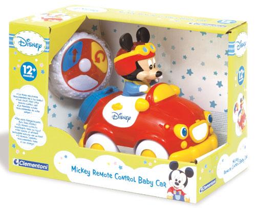La première voiture radiocommandée Mickey pour les tout-petits. Une radiocommande en forme de pneu avec des fonctions simples et une prise en main adaptée aux plus jeunes. La voiture avance tout droit et recule en tournant. Mickey bouge à l´intérieur du v
