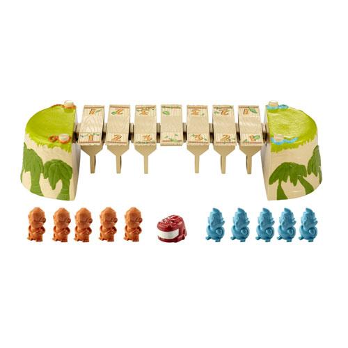 Les toucans et les singes essaient tous de traverser le pont, mais dans des sens contraires ! Attention au crocodile affamé qui les guette en dessous, il ne faut pas tomber du pont! Avance avec prudence et stratégie pour rejoindre l´autre rive et gagner l