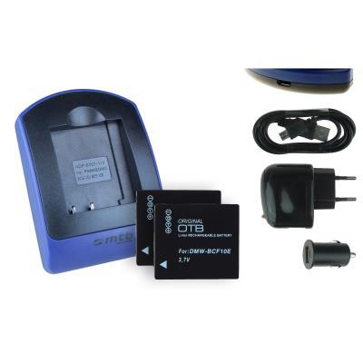 2 Baterìas + Cargador (USB/Coche/Corriente) DMW-BCF10E para Panasonic Lumix DMC-FX580, FX700, TS1