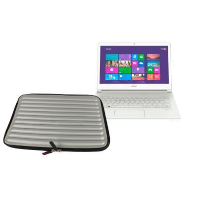 Funda De Espuma Con Memoria Para El Ordenador Portátil Acer Aspire S7 Con Forma Ondulada-Color Gris Plateado Por DURAGADGET