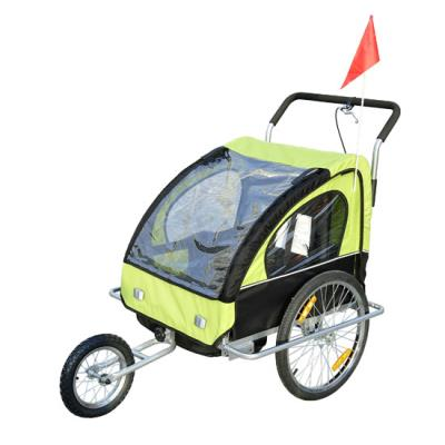 Remolque Bicicleta para Niños 2 PLAZAS con Amortiguadores Carro con Kit de Footing Color Green