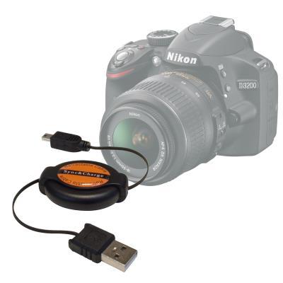 Cable De Sincronización De Mini USB Retráctil Sirve Para La Cámara Nikon D3200 Por DURAGADGET