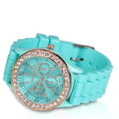 Reloj de silicona DIAMOND -verde turquesa--Turquesa
