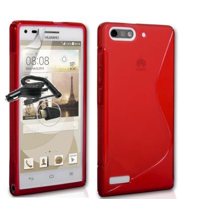 Funda GEL SLine S Line ROJO Huawei Ascend G6 4G Orange Gova + 1 Cargador Mechero Coche