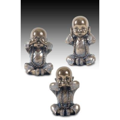 Set 3 Figuras Decorativas Monjes 9 cm