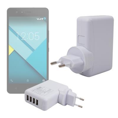 Fantástico Cargador De Viaje Con Cuatro Puertos USB Para BQ Aquaris M4.5 / M5 / M5.5 - Con Enchufe Europeo - En Color Blanco Por DURAGADGET