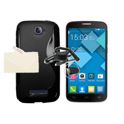 Funda s line sline NEGRA Alcatel One Touch Pop C7 + 1 Protector + 1 Cargador Mechero Coche