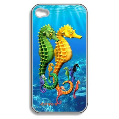 Funda 3D para iPhone 4 y 4S Caballitos Mar Protector Pantalla
