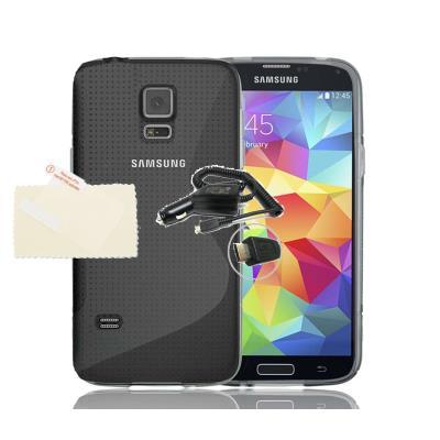 Funda GEL SLine S Line TRANSPARENTE Samsung Galaxy S5 mini G906 + 1 Protector + 1 Cargador Mechero Coche + 2 Protectores