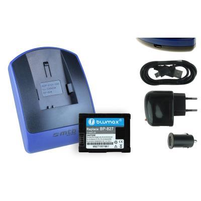 Baterìa + Cargador (USB/Coche/Corriente) BP-827 para Canon VIXIA HF M40, M41, M300, M400
