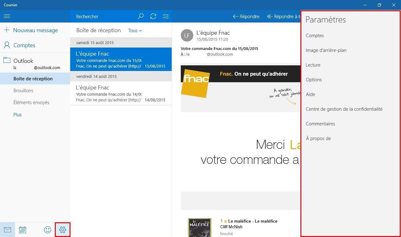 Astuce windows 10 configurer l 39 application courrier for Photo ecran w10
