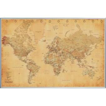 poster encadr cartes carte du monde style r tro en anglais 61x91 cm cadre plastique. Black Bedroom Furniture Sets. Home Design Ideas