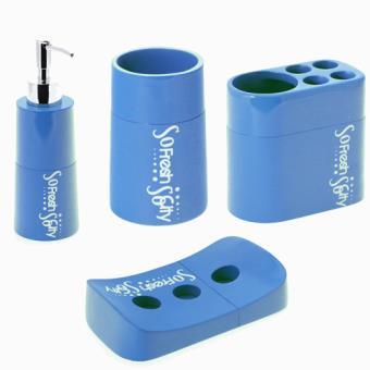 Set de 4 accessoires pour salle de bain so city r sine for Accessoire de salle de bain bleu