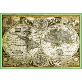 poster encadr cartes historiques carte du monde 61x91 cm cadre plastique vert top prix. Black Bedroom Furniture Sets. Home Design Ideas