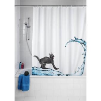 wenko 20052100 rideau de douche en textile cat anti moisissure 180x200 cm achat prix fnac. Black Bedroom Furniture Sets. Home Design Ideas
