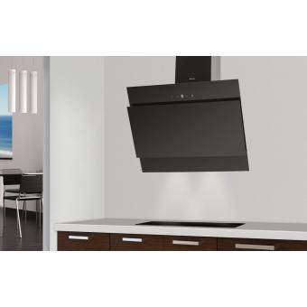 Hotte d corative murale noire 90 cm urban 23822 - Hotte decorative noire 90 cm ...