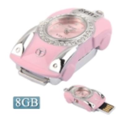 Car Shaped With Watch Diamond Jewelry 8GB USB Clé Clef USB (rose)