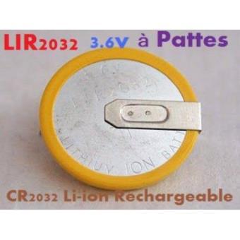 pile bouton cr2032 li ion rechargeable 3 6v lir2032 pattes ou languettes achat prix fnac. Black Bedroom Furniture Sets. Home Design Ideas