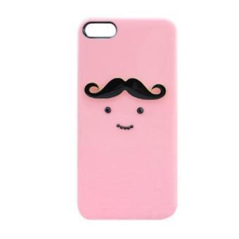 coque rose moustache fille 3d rigide blanche iphone 5 et. Black Bedroom Furniture Sets. Home Design Ideas