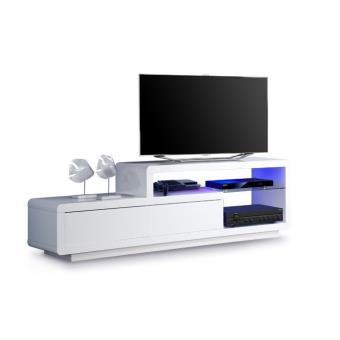 meuble tv lumineux belco 174 laqu blanc meilleur prix. Black Bedroom Furniture Sets. Home Design Ideas