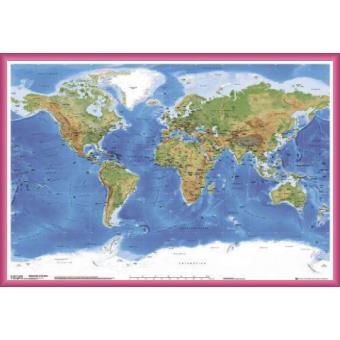 poster encadr cartes carte physique du monde en anglais 61x91 cm cadre plastique pink. Black Bedroom Furniture Sets. Home Design Ideas