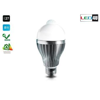 led4u ampoule avec d tecteur de mouvement blanc froid e27 8w led 6000k 6500k maclean 35782. Black Bedroom Furniture Sets. Home Design Ideas