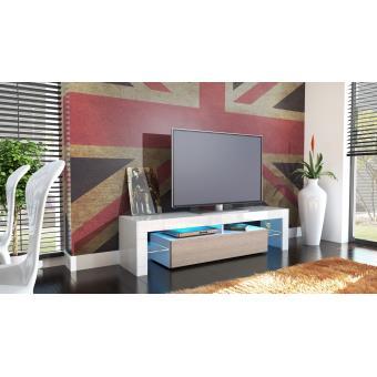 meuble tv 151 cm blanc et champagne achat prix fnac. Black Bedroom Furniture Sets. Home Design Ideas