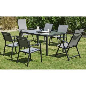 Ensemble table et chaises set horizon alu textilene verre for Hevea jardin