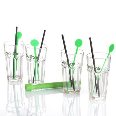 Image du produit Coffret kit Mojito 13 pièces : verres à mojito, pailles, touilleurs, pilon