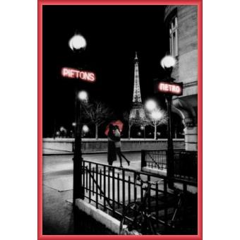 poster encadr paris metro 91x61 cm cadre plastique rouge top prix fnac. Black Bedroom Furniture Sets. Home Design Ideas