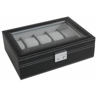 egodesign coffret boite 10 montres facon sellier noir. Black Bedroom Furniture Sets. Home Design Ideas