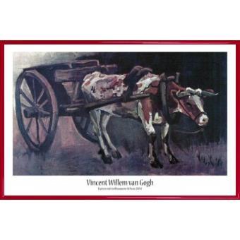 poster encadr vincent van gogh chariot avec le boeuf rouge brun 1884 61x91 cm cadre. Black Bedroom Furniture Sets. Home Design Ideas