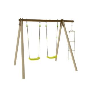 balancoire portique en bois trigano piki 3 agres dont 2 balan oires en bois et m tal trigano 1. Black Bedroom Furniture Sets. Home Design Ideas