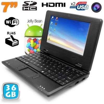 Mini PC Android Kitkat dual core netbook 7 pouces WiFi 36 Go Noir